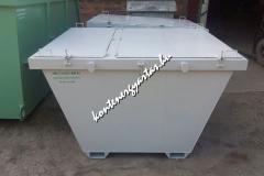 2 m3-es, targoncával is üríthető konténer, felemás ajtókkal